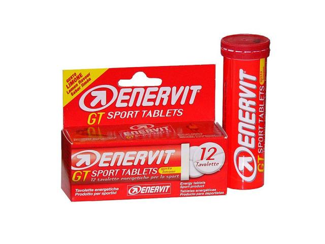 Enervit GT Sport energetické tablety s vitamínmi pre optimálnu výkonnosť a ľahké užitie. Obsahujú draslík, horčík, vitamíny skupiny B, maltodextrín pre okamžitý prísun energie a fruktózu. Balenie je v tube po 12 ks tabliet. Spôsob užitia: k následnému rozpusteniu v ústach.