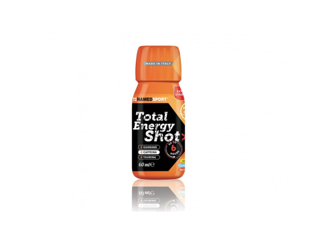 TOTAL ENERGY SHOT - doplnok stravy s vysokým obsahom kofeínu (180 mg / 60 ml), taurínom, extrakty z guarany a čiernej bazy, s vitamínom C a vitamínom B12, ktoré prispievajú k normálnemu energetickému metabolizmu.