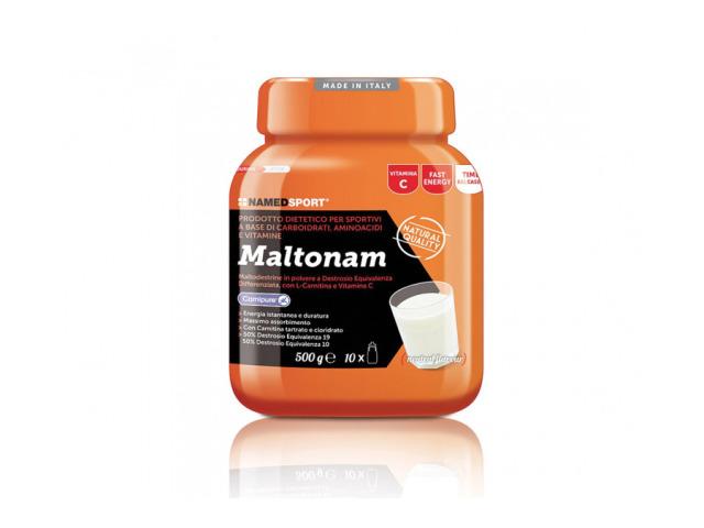 Mix maltodextrínu (50% dextrózový equivalent 19 a 50% equivalent 10) s rôznou rýchlosťou asimilácie, s L-carnitiem (Carnipure®), L-fenylalanínom, a vitamíny. Maltonam je doplnok vyrobený z jednoduchých a komplexných sacharidov, rôzne rýchlosti asimilácie, určený pre vytrvalostné športy, kde je potrebné zabezpečiť postupnú a konštantný energiu. Špeciálne zloženie je obohatené o L-karnitín, L-fenylalanín, vitamín C a vitamíny skupiny B. Zvlášť vitamín C a vitamíny B prispievajú k normálnemu energetického metabolizmu, Vitamín C k ochrane buniek pred oxidačným stresom, vitamín B6 k zníženiu únavy.
